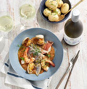 Fish, Prawns and Clams with Anchovy Butter
